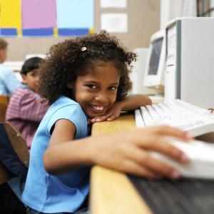 School girl at computer
