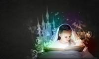 school girl reading fairytale