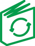 Reduce, Reuse, Recycle - green outline of book with recycle symbol