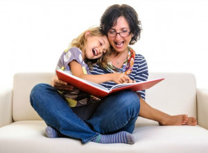 Mom and child reading