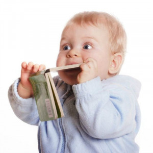 Baby chewing book