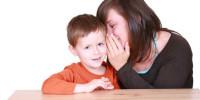 Boy and Mom telling secret
