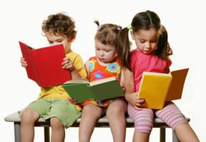 Kids looking at books