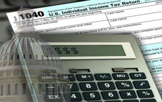 image of tax forms with calculator and US Capitol building