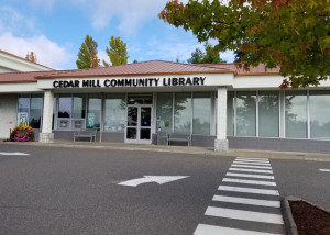 Cedar Mill Library entrance with fall colors - image by K Travillion