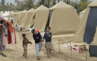 refugee camp with kids