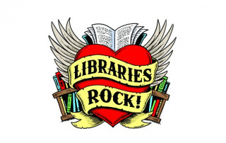 "Heart with wings with banner that says, ""Libraries Rock"" in front"