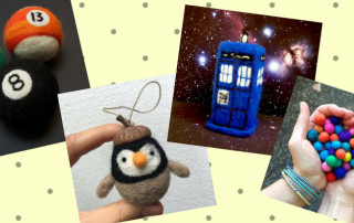 Felted billiards balls, penguin, Tardis and hands holding felt balls