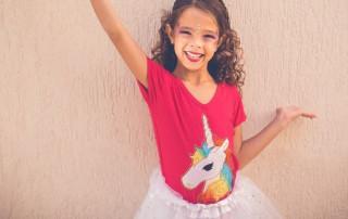 girl with unicorn shirt