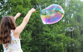 girl with large bubble