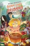 Cartoon of girl cooking over a large pot