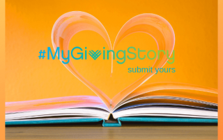 #GivingTuesday image with book and heart