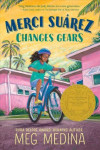 Book cover illustration of Latina girl in blue shirt riding a blue bike