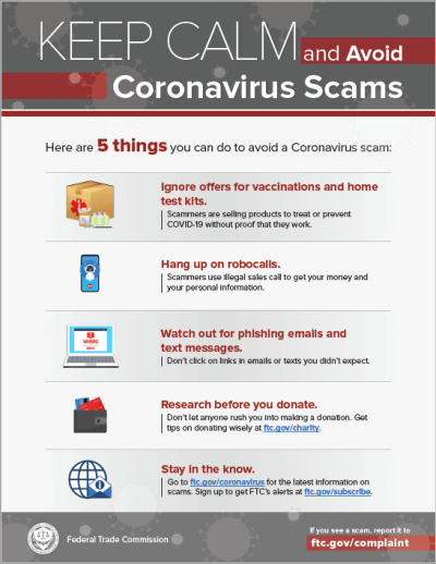 5 steps to avoiding coronavirus scams poster from the Federal Trade Commision