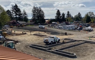 View of parking lot under construction as of April 28