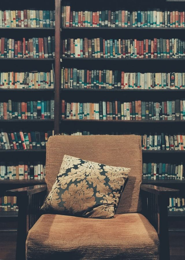 Big chair with pillow in front of full book shelves. Photo by Sanjeevan SatheesKumar on Unsplash